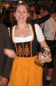 Only during Oktoberfest women drink from glasses the size of waste-paper baskets.