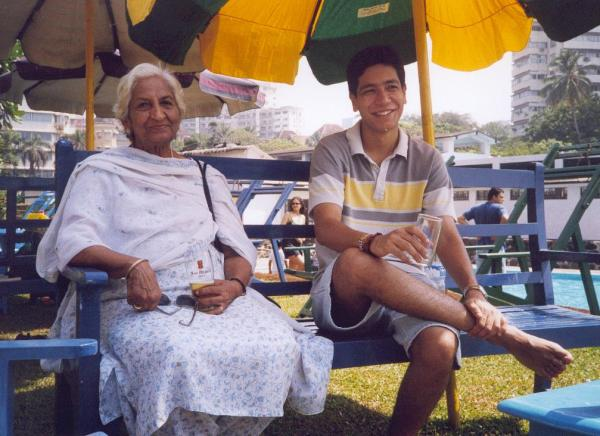 Arjun in October 2001, together with his grandmother Kamla